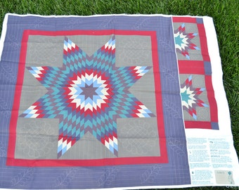 """Pre-Printed Quilt Fabric Panel 36"""" Square, Table Cloth, Crib Quilt, Wall Hanging, Center Motif, Star, Medallion,"""
