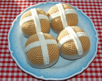 Crochet Pattern for Easter Hot Cross Buns - Crochet Food, Play Food, Toy Food