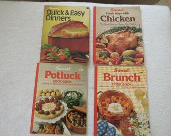 Four Vintage Sunset Cookbooks