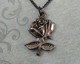 Black Rose Necklace, Rose Jewelry, Black Necklace, Valentine's Day Jewelry, Black Rose Pendant Necklace, Rose Charm Necklace, Gothic Jewelry