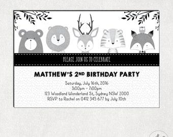WOODLAND BIRTHDAY Invitation. Modern Black and White First Birthday Digital Invite. Forest Animal Party Invitation. Fox Bear Deer Owl WOOD6A