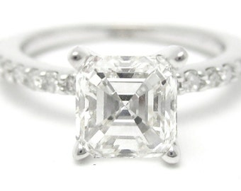 1.56ctw ASSCHER CUT prong set ETERNITY diamond engagement ring 14k white gold