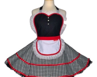 Little Red Riding Hood Apron -  Ruffled Red/Black/White Woman's Vintage Apron Full Kitchen Cosplay Sweetheart Pinup