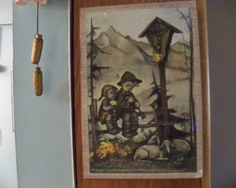 hummel  picture  on board wall hanging  art