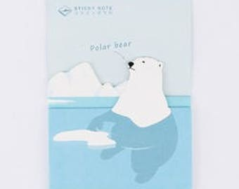 Polar Bear Catching Fish Sticky Notes / Post-its / Sticky Memo 30 sheets