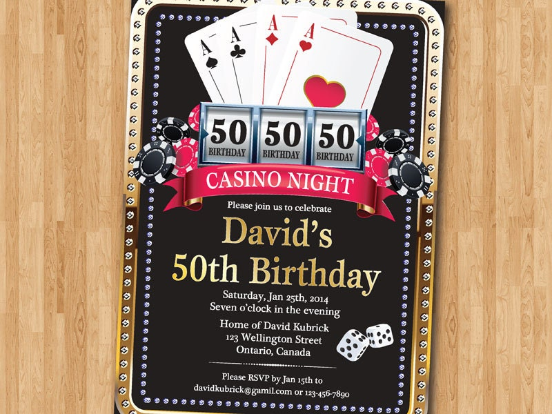 Casino 50th Birthday Invitation Poker Playing Card Gold