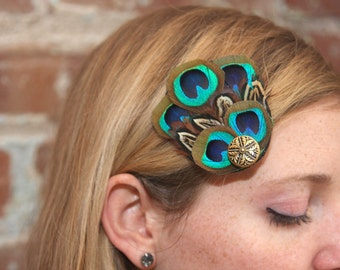 Peacock and Pheasant Fan Hair Clip Fascinator with Vintage Button