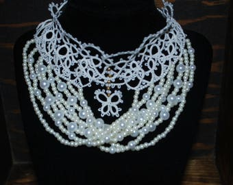 Victorian Style Tatted Lace and pearl Bead Choker