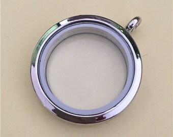 Silver Round Living Floating Locket, Living Window locket, Living Memory Lockets 30mm - AS200S