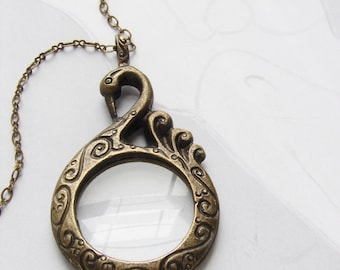 Swan magnifying glass necklace, Monocle Magnifier antiqued gold swan monocle glass statement necklace gift for her