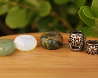 Set Of 5 | Stainless + Gemstone Dreadlock Beads 5/6mm Hole (3/16 - 1/4 Inch)