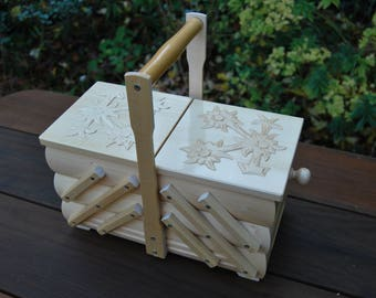 New beautiful Medium Wooden Sewing Box in White Color