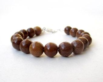 Bracelet - 10mm Narra Wood Bead Bracelet - Everyday Wear - Wood Ball Bracelet - Sterling Silver or 14k Gold Fill Components