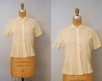 1950s Sheer White Lace Blouse