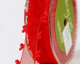 Sheer Heart Edged Ribbon - Red - 1 inch  - You Choose Yards