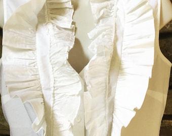 Vintage Ruffle Blouse, Fitted Shirt, Women's Blouse, White Ruffled Top, Free Headband,  White Size Medium Perfect White Blouse Resort Wear