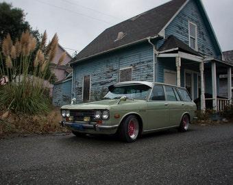 Datsun 510 Bluebird SSS Wagon, Landscape Photography, Metal Print, Large Prints, Humboldt County CA, Classic Cars, Redwoods, DJerniganPhoto