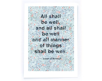 Archival Watercolour Quote Illustration - All Shall Be Well