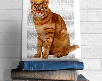 Ginger Cat, King of Cats, Full, wall hanging, cat decor, cat illustration, cat gift for cat lover, cat print, cat art, cat poster