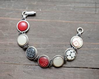 Red and black bracelet - Silver link bracelet - Vintage bracelet - Retro Bracelet, 60s jewelry, Holiday jewelry, Retro style jewelry