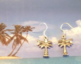 Antiqued Silver Palm Tree Earrings, Silver Earrings, Beach Earrings, Tropical Earrings, Tropical Jewelry, Beach Jewelry