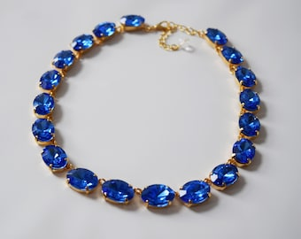 Sapphire Blue Swarovski Crystal Collet Necklace, Royal Blue Rivere Necklace, Crystal Anna Wintour Necklace, Sapphire Blue Rhinestone Jewelry