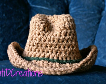 FREE PATTERN, Cowboy Hat, Newborn Pictures, Photo Prop, Crochet, Brimmed Hat, Newborn Photos, Crochet Pattern, PDF