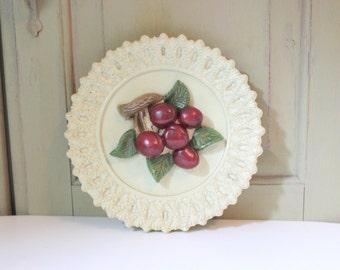 Vintage Cherry Chalkware Wall Hanging Mid Century Plaster Wall Plaque Kitchen Decor Cherries Fruit Dinning Decor