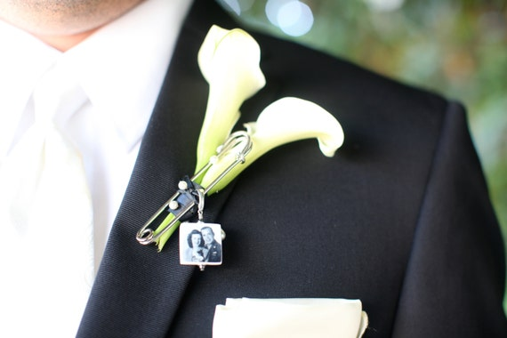 Boutonniere Pin / Corsage Pin Photo Charm - Small Memorial Charm - BPP3