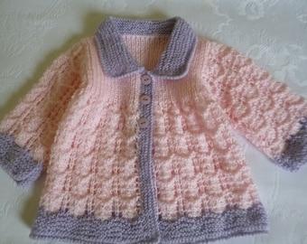 Baby Sweater, Newborn Sweater, Clothing Newborn, Knit Baby Sweater, Lace Baby Sweater, Pink and Lilac, Baby Shower Gift.