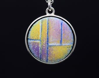 Sterling silver enamel pendant sgraffito vitreous enamel necklace