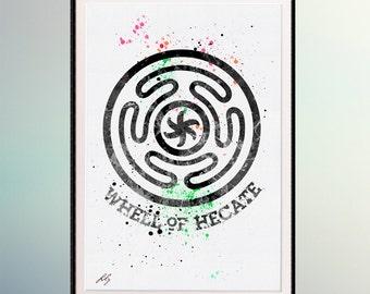 Wheels of Goddess Hecate Pagan Symbols Watercolor art  Watercolor Printing. Room Wall Decor Art. Wall Hanging.  A298