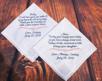 Mother of Bride and Groom Gift Set - Wedding Hankerchief For Mom -  Personalized Gift for Mother of the Bride - Wedding Hankies