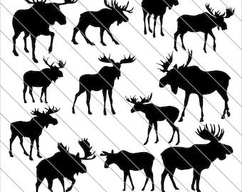 Moose Silhouettes SVG, moose clipart, bull moose, bundle svg, Moose svg Cut File,DXF,PNG Use with Silhoutte Studio & Cricut Instant Download
