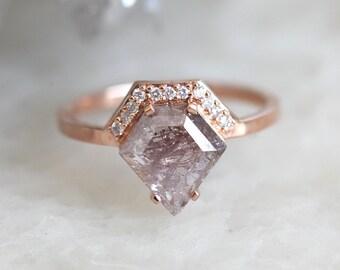 Salt and Pepper Diamond Ring, Rose Gold Diamond Engagement Ring, 18k gold ring set, Geometric Diamond Ring, Modern Diamond Set, Set of two