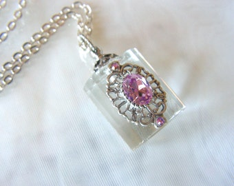 Vintage Inspired Silver And Pink Crystal Perfume Bottle/ Essential Oil Necklace