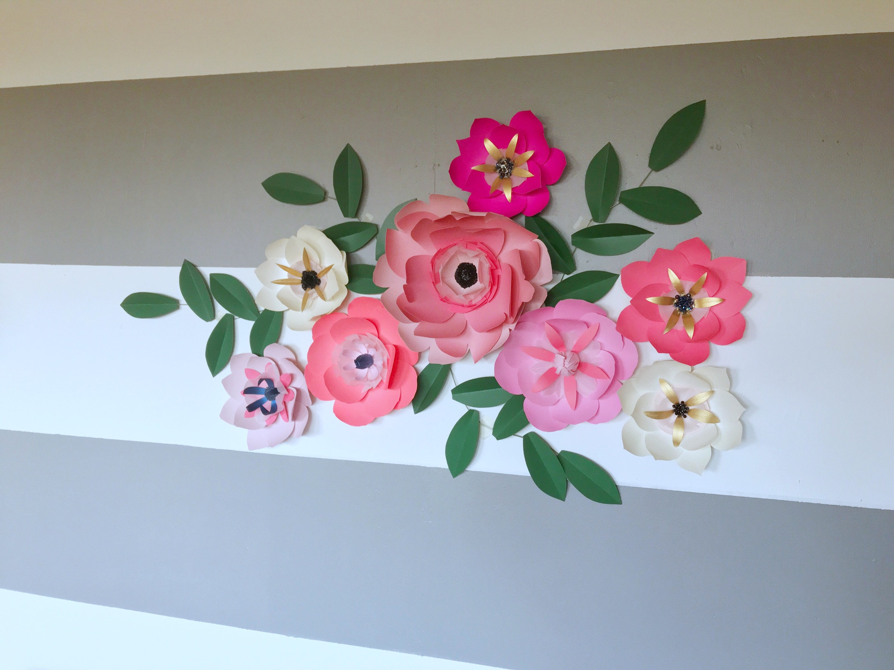 ribbons pin pink picture rose hanging d interior for decor silk wall roses embroirey chic with chebby