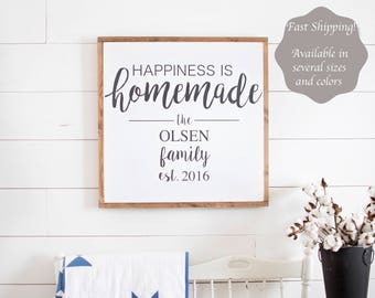 Happiness is Homemade Sign   Happiness is Homemade   Living Room Wall Decor   Happiness is Homemade Wood Sign   Framed Sign