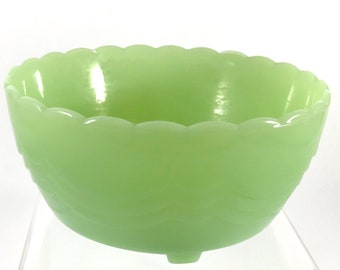 Fire King Jadeite Scalloped 3 Footed Bulb Bowl *Unsigned*