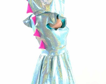 Seafoam Holographic & Neon Pink Spiked Dragon Hoodie DRESS with Flip Sleeves -150944