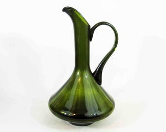 Vintage Green Art Glass Pitcher. Possible Blenko. Circa 1960's.