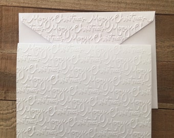 Merry Christmas Card Set,  White Embossed Card, Greeting Card Set, Stationery Set, Holiday Card Set, Blank Note Cards and Envelopes