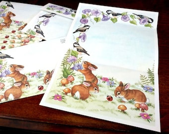Set of Stationery Bunnies Chickadee Morning Glory Flower Springtime Spring Note Cards Unused Writing Paper Adorable Bunny Rabbits Birds