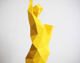 Statue Papercraft, DIY sculpture, Low Poly PDF, Liberty Statue