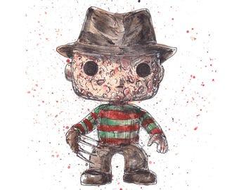 A Nightmare Elm St Freddy Krueger 5x7 Signed Art Print