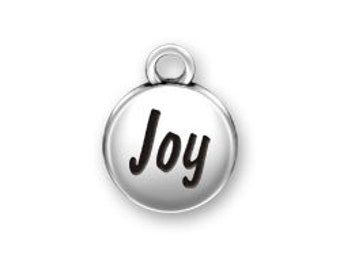 Sterling Silver JOY domed round charm