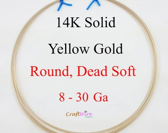 14K Solid Yellow Gold Wire, 8 10 12 14 16 18 20 21 22 23 24 25 26 28 30 Gauge, Round, Dead Soft, 14K Gold Wire