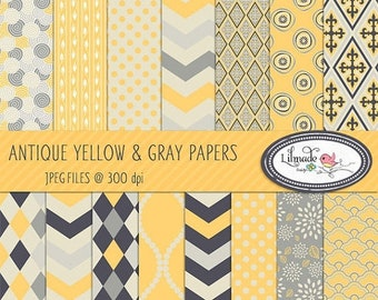 50%OFF Yellow and gray digital paper, digital paper, scrapbook paper, vintage paper, vintage patterned paper for commercial use, P83