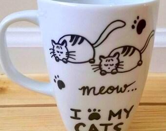 I Love My Cats Mug - Crazy Cat Lady - Meow 10 oz