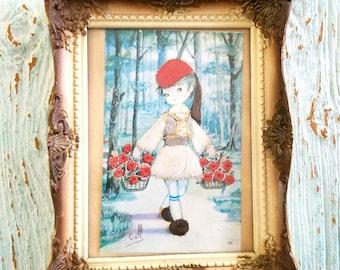 Vintage Folk Art, Embroidered Card, Needlework Sample, Dutch Girl Carrying Flowers Baskets, French Provincial Style Framed